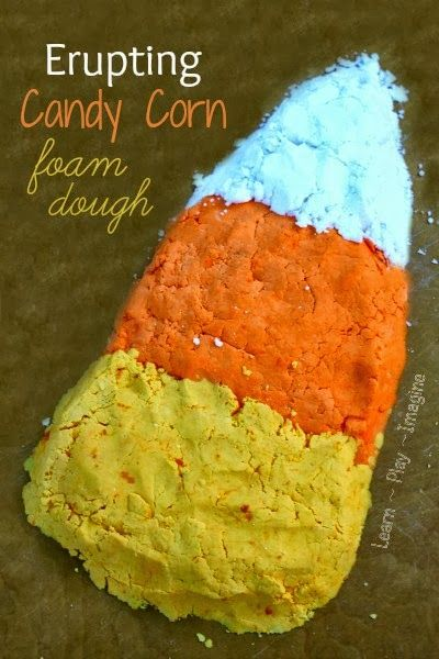 Candy corn foam dough that ERUPTS!  Super simple fall recipe for play kids will LOVE.