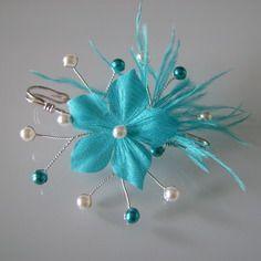 Attache remonte traine broche ivoire bleu turquoise ou - Accessoires patisserie pas cher ...