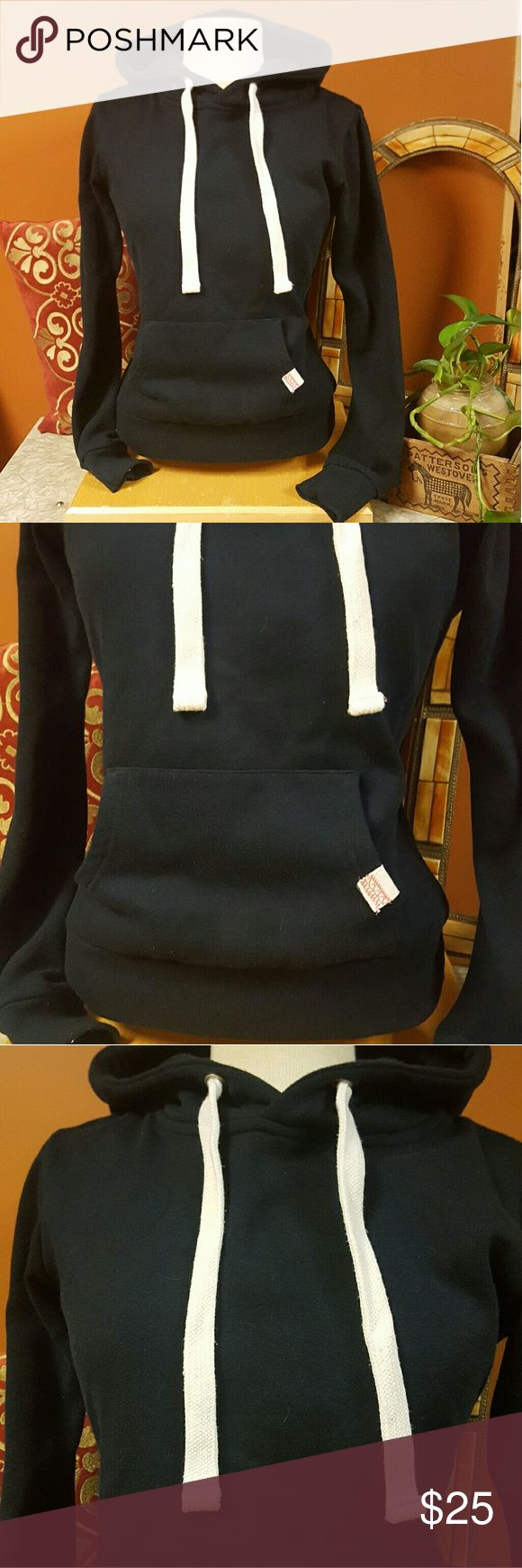 Heritage Hoodie Brand new Super cute dark navy blue Hoodie with thick white draw strings. Heritage Sweaters