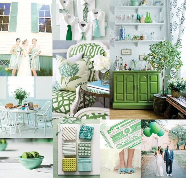 Aqua and kelly green...a new inspiration from 2 new found lamps