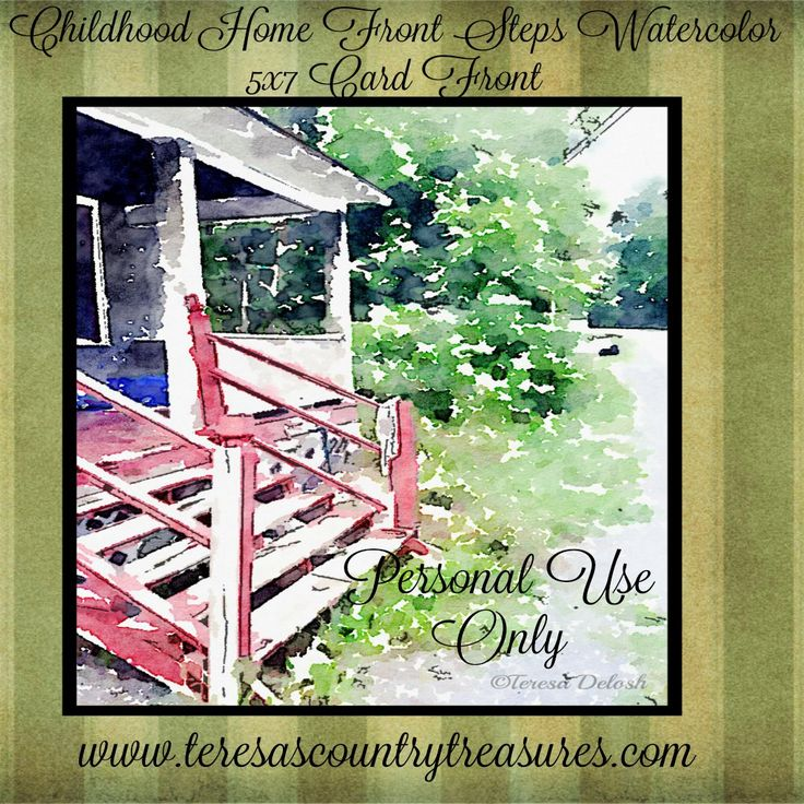 #Childhood #Home #Watercolor 5 x 7 #Photograph #Card Front #Printable