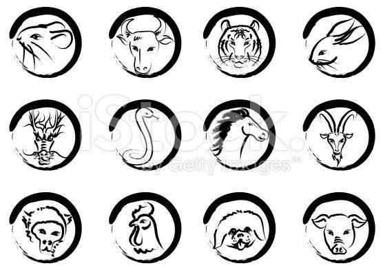 Китайские знаки зодиака в circle роялти-фри стоковый вектор искусства