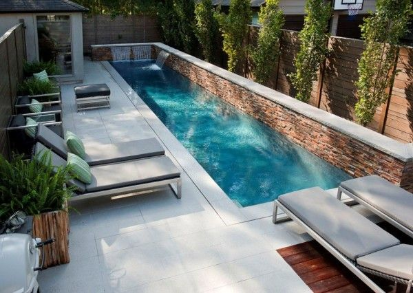 Fantastic Small Backyard Swimming Pool Gives Peaceful Atmosphere : Modern Backyard  Design Small Backyard Swimming Pool Lounge Enclose Patio