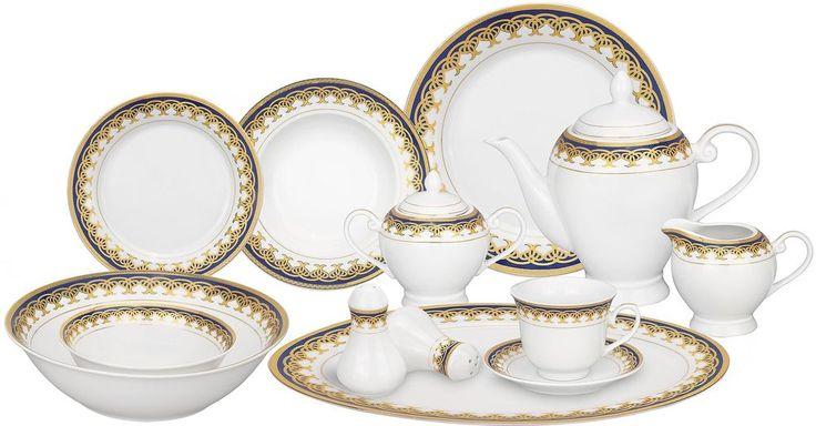 Porcelain Accent Dinnerware Gold Blue Traditional Dishwasher Safe 57 Piece Set #LorrenHomeTrend #Dinnerware #Dishwasher #Kitchen #Plates