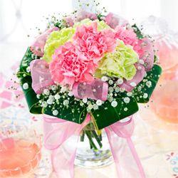 ふわふわリボンのグラスブーケ(花瓶つき)521218|母の日フラワー
