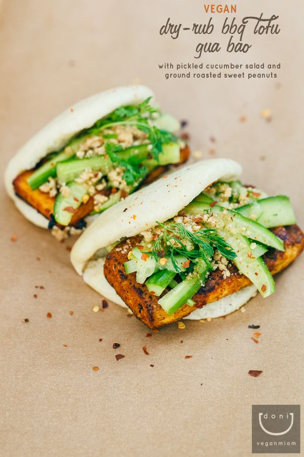 Dry-Rub BBQ Tofu Gua Bao with Asian Pickled Cucumber Salad and Ground Roasted Sweet Peanuts