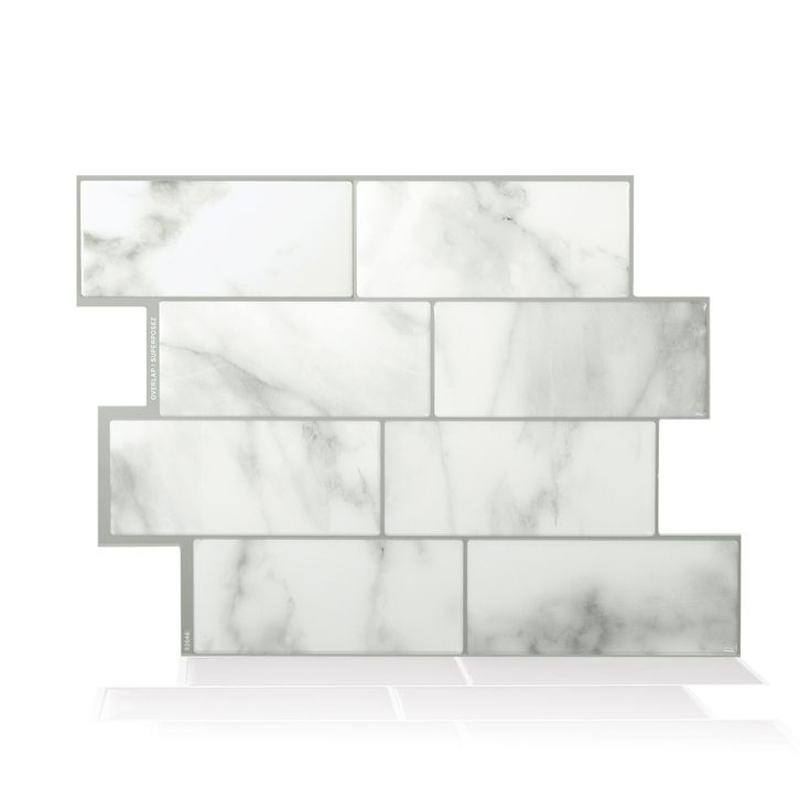 Metro Carrera Peel and Stick Smart Tiles. Especially designed for kitchen and bathroom environments, the tiles are lightweight and thin and can be installed directly over existing tiles or smooth surface.