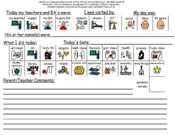 Hands-on communication sheet from school to home that can be completed by the student or the student's teacher/EA to communicate what they are unable to Includes who was working with them today, special visitors such as OT PT or SLP, classes and activities that were carried out and room for notes from staff.Program independently created and copyrighted by Erin Duncan of Helping Hearts and Hands Ottawa 2016.All Images copyright of.Mayer-Johnson2100 Wharton StreetSuite 400Pittsburgh, PA…