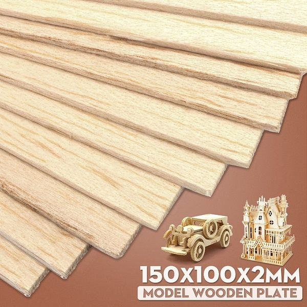 10pcs Balsa Wood Sheets Wooden Plate 150x100x2mm For House Craft Model Diy Wish Wooden Plates Wood Wood Sizes