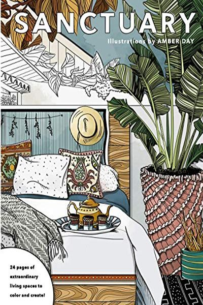 (2016) Sanctuary: Living Spaces Coloring Book by Amber Day