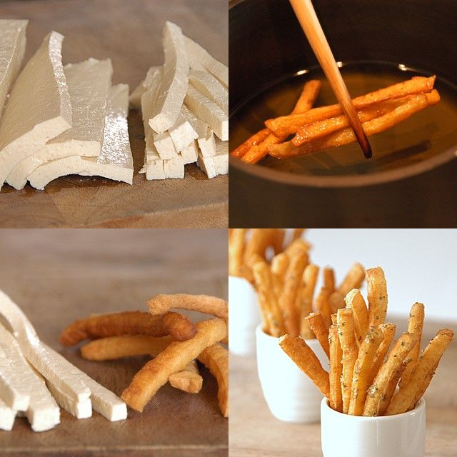 Tofu Fries (includes recipe for Asian Ketchup); http://whiteonricecouple.com/recipes/tofu-frites-mojos-in-asian-ketchup-whats-your-style/.