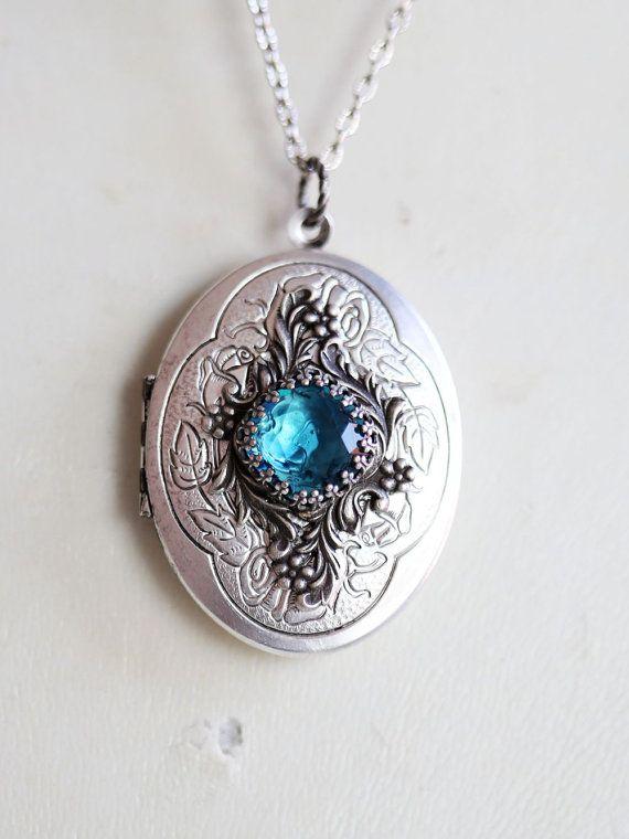 Locket Necklace,Blue Topaz Locket, Roses Silver Oval Locket,December,Birthstone,Wedding Necklace,Something Blue Locket,Ocean Mermaid Locket