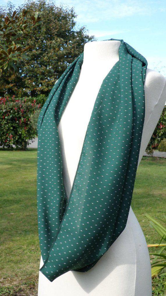 Snood écharpe tube tour du cou foulard femme vert lin eva création ... 4cad5c9ffdc
