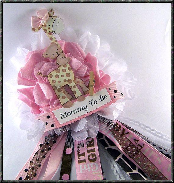 Giraffe Mom To Be Corsage Pink and Brown Safari por BloomingParty