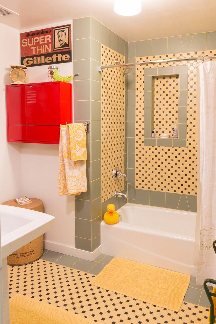 17 best ideas about yellow tile on pinterest geometric for Yellow bathroom ideas pinterest