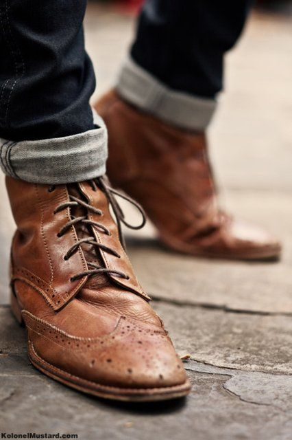 <>Men Clothing, Style, Leather Boots, Men Fashion, Men'S Fashion, Men Shoes, Brown Boots, Leather Shoes, Cuffed Jeans