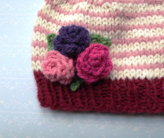 Knitted baby hat pink striped baby hat with flower by SnowyIdris