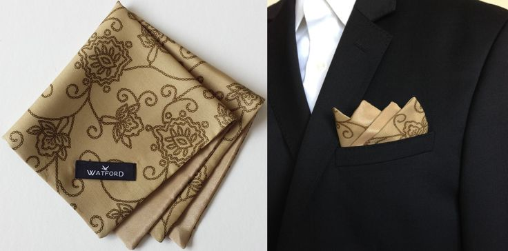 Cotton print with Gold lining - Pocket Square (Double-sided)