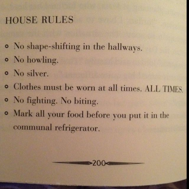 """Clothes must be worn at all times ALL TIMES"" House Rules for Werewolves in City Of Lost Souls by Cassandra Clare."