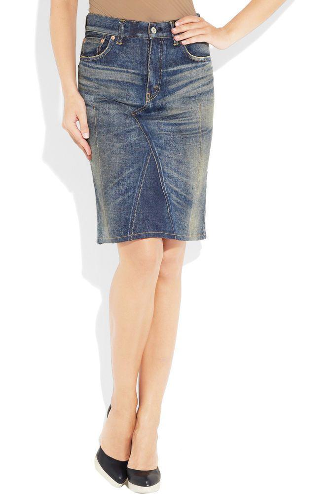 NEW Junya Watanabe Denim Distressed Jean Pencil Skirt L Large Comme des Garçons #CommedesGarconsJunyaWatanabeDenim #StraightPencil