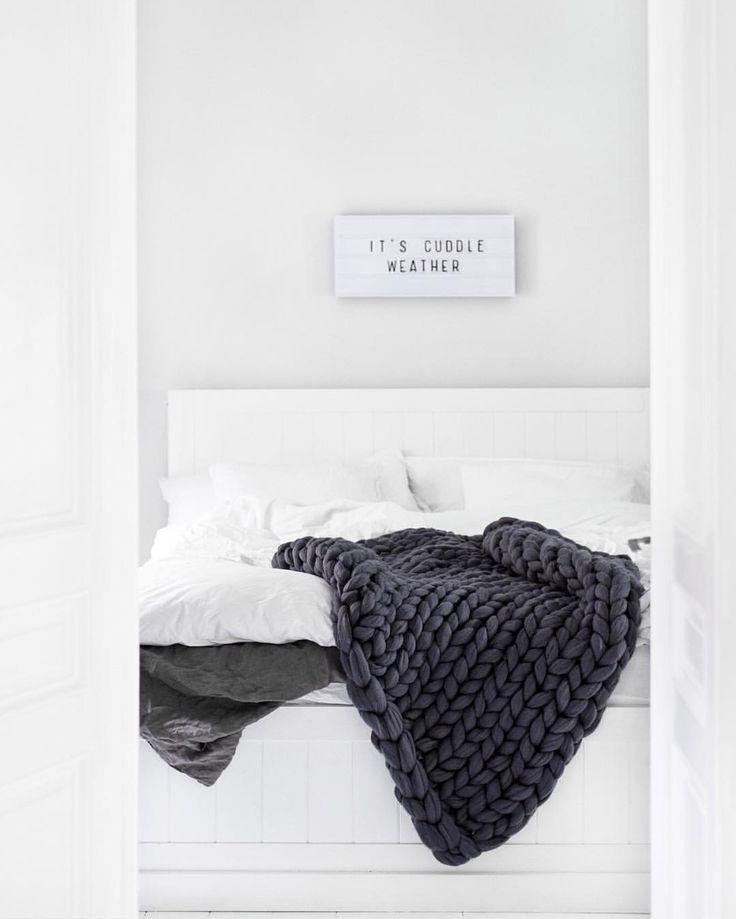 Dark grey knitted throw -- bedroom goals