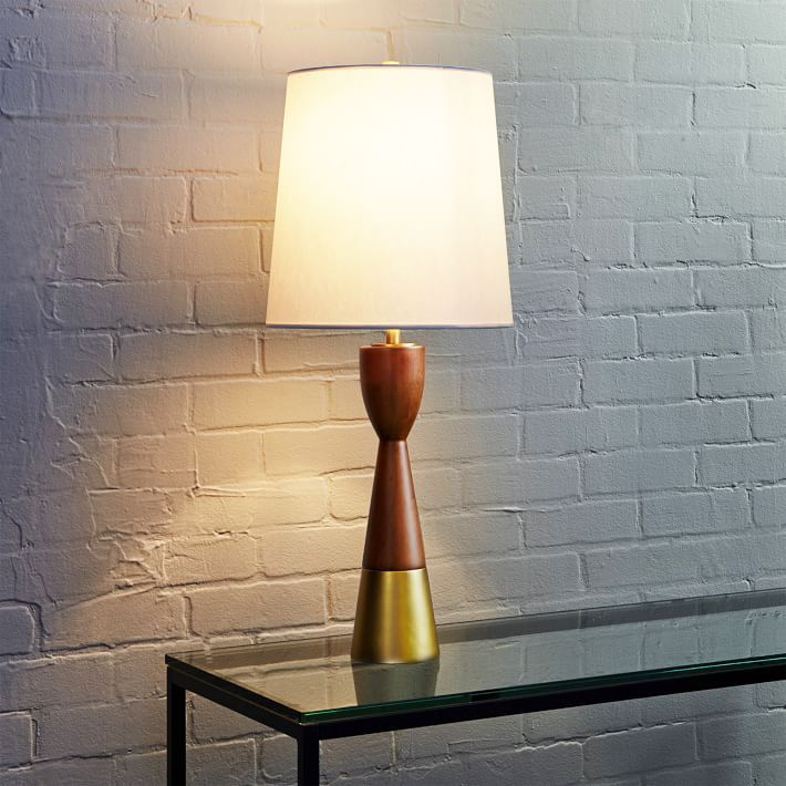 West elm rejuvenation mid century wood table lamp tall x
