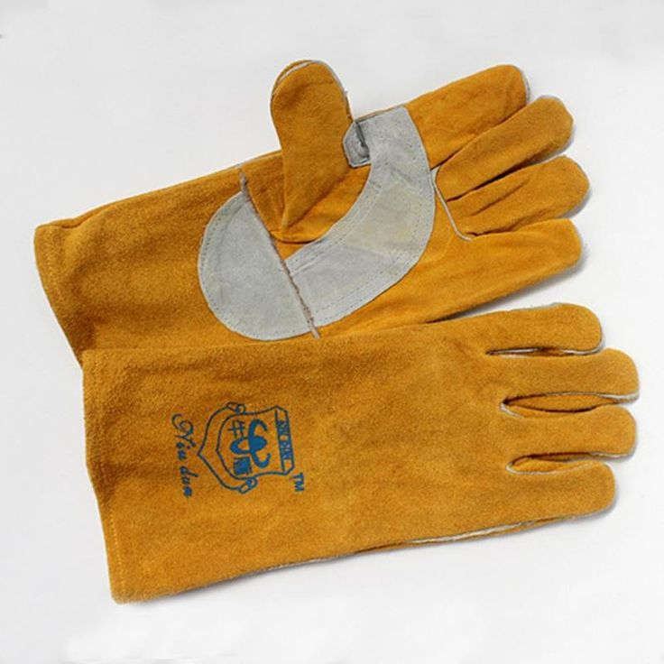 Welding Gloves Wool Material Protection Durable Fire Retardant Electric Welding Glove Safety Protection Material: Leather Classification: Welder's Gloves Model Number: A03 Size: same sizes Brand Name: SOMITECH color: yellow Function: safety protection Length: 38cm USage: welding protective  Material Extended Protection Durable Fire Retardant Reinforced Electric Welding Glove Labour Safety Protection