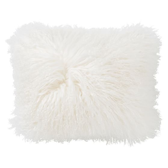 mongolian faux fur pillow cover 12x16 light grey