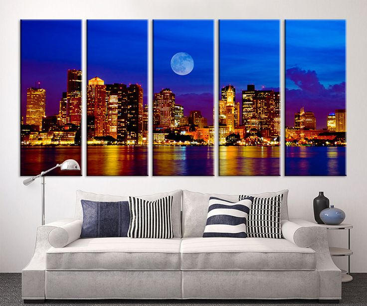 Large Canvas Art - Boston City Night Canvas Art Print, Wall Art Black White Boston Art, Extra Large City Lights Boston Wall Art Print