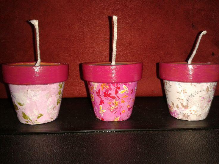 soja kaarsen in bloempot € 2.00 p.st 3 voor € 5.00 10 tot 15 branduren per kaars