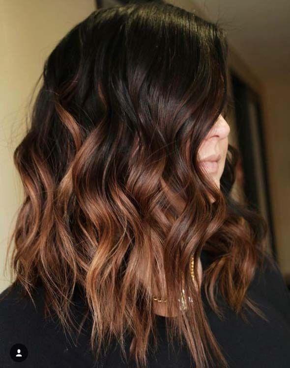 Dark Brown Hair With Subtle Light Brown Balayage Brown Ombre Hair Hair Styles Ombre Hair