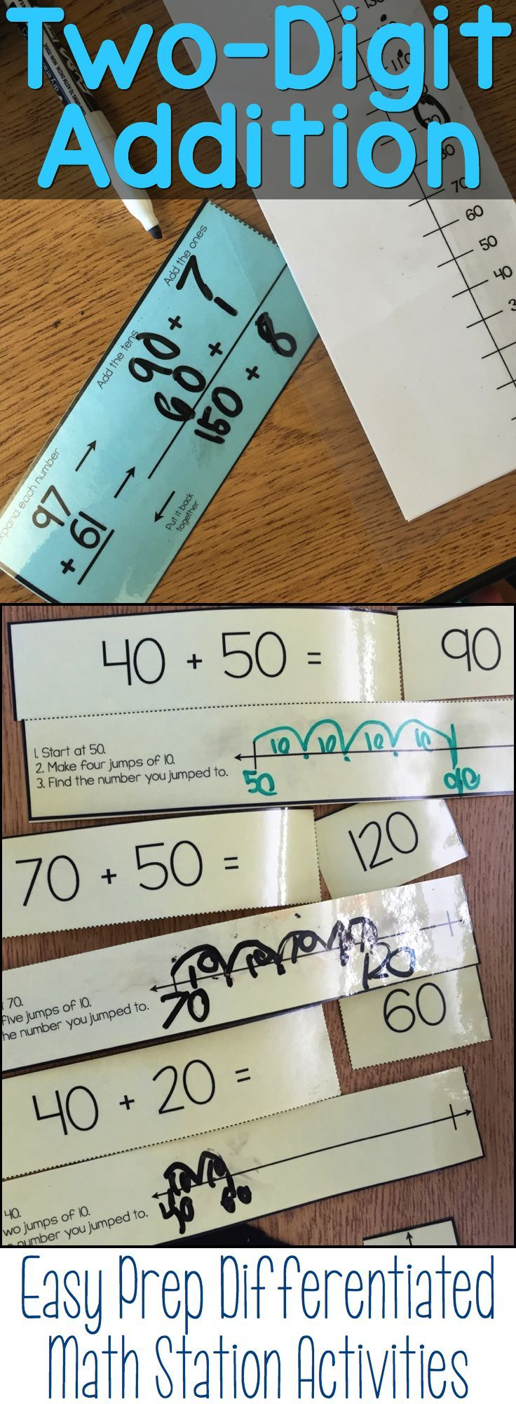Two-Digit addition math stations / centers that are easy to implement.  They come in four different levels (10s, 10s and one 1, without regrouping and with regrouping) and practice four different strategies to solve the problems.  Perfect for second grade math stations.