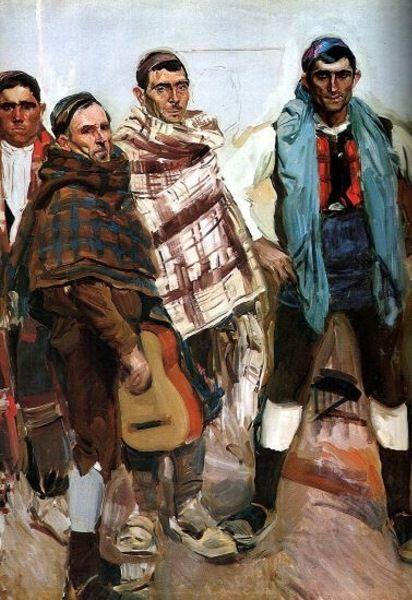 """peinture : Joaquin Sorolla y Bastida, """"tipos aragones"""", 1914, hommes espagnols avec guitare"""