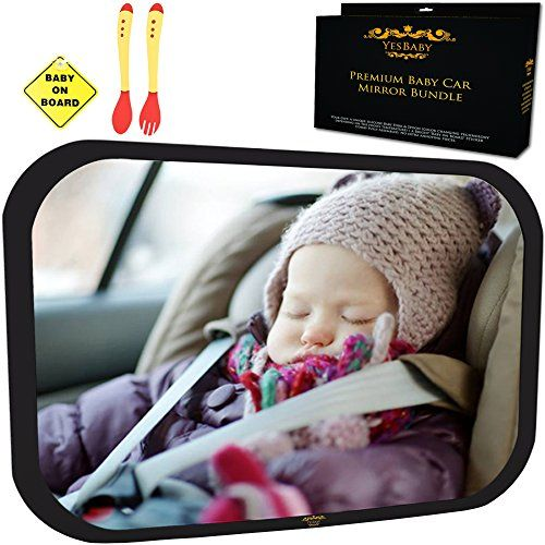 Baby Car Mirror Bundle  Improved Shatterproof Glass  Best Backseat Baby Mirror for Car  The Clearest  Largest  Fully Assembled  Adjustable  Crashtested Back Seat RearFacing Infant and Sight * Visit the image link more details.