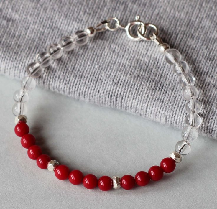 Red Coral and Clear Quartz Gemstones with Fine Silver Beads Girl's Bracelet by ILgemstones on Etsy