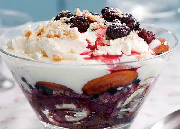 Use a microwave to make the thick custard for this fruity trifle