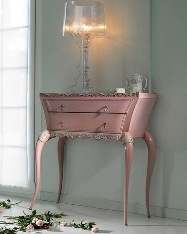 Look at the shape on this painted French furniture by Sweet Pea & Willow .  so cute!
