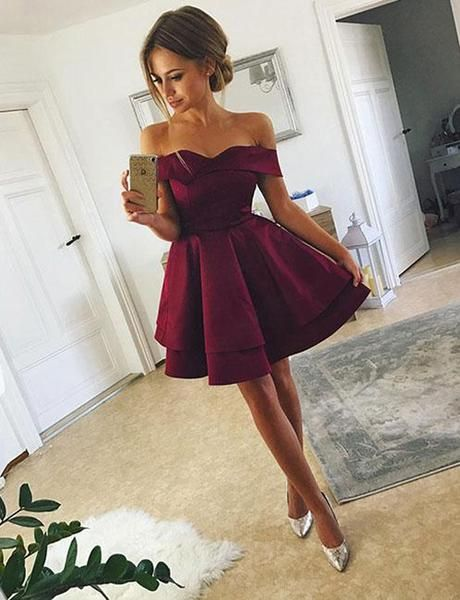 dce8f401435 Simple A-Line Off-the-Shoulder Short Above-knee Burgundy Satin Homecoming  Dress