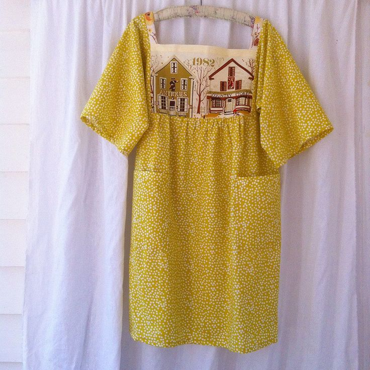 Womens Floral Woodsfolk folk dress in pure cotton with Embroidered bodice size 16 mustard polkadots with pockets by smallforestshop on Etsy