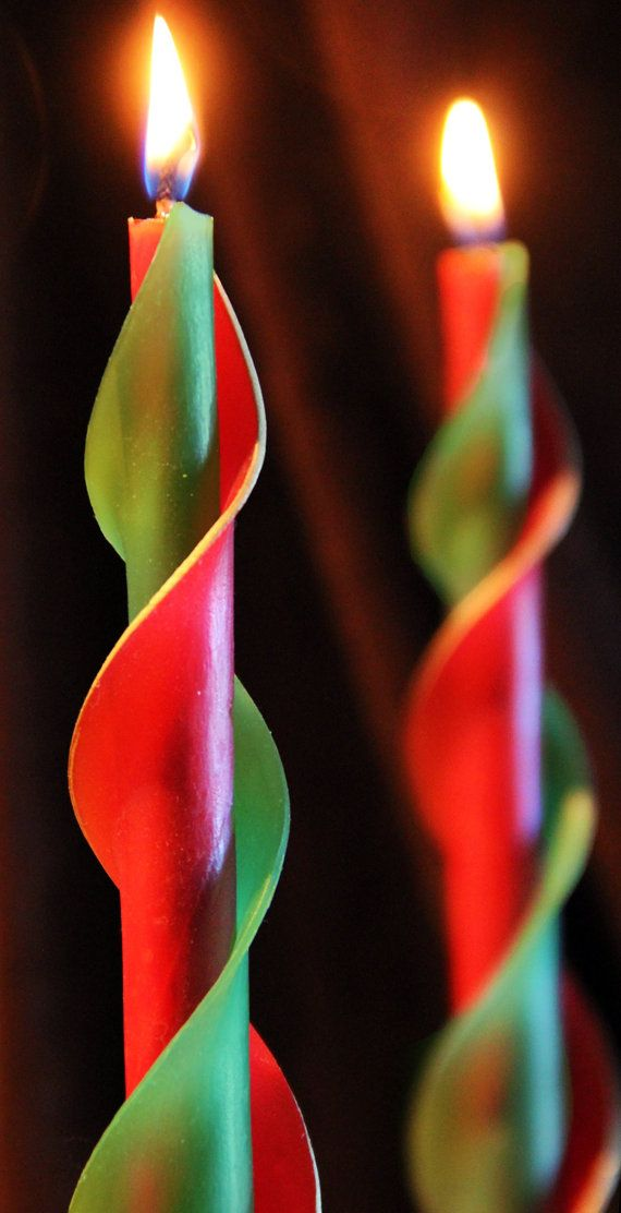 Red and Green Double Spiral Beeswax Candles by BougieCandles, $20.00