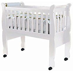 Green Frog, Baby Cradle | Handcrafted Contemporary Wood Baby Cradle | Premium Pine Construction | Wheels, Rockers, and Stationary Options | White