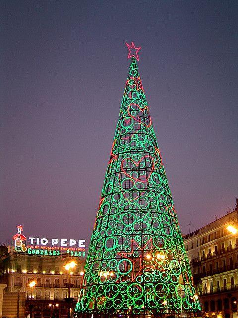 Christmas in Madrid.Lights.Illumination.Square Christmas Tree.Puerta del Sol
