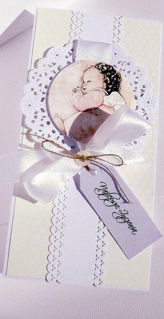 free online christening invitation making%0A Items similar to Elegant  handmade  polish christening invitations  baby  shower invitations for baby girl set of   on Etsy