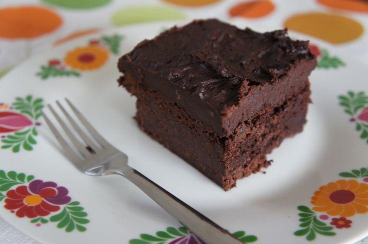 Chocolade brownie met fudge topping zonder suiker
