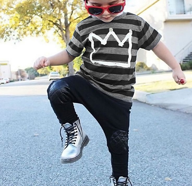 """Cute boys set includes black and gray stripe top and black pant with vegan leather knee pads.Measurements- TOP LENGTH/PANT LENGTH (when in doubt, we suggest you size up!) 2T - 15.7"""" / 21..."""