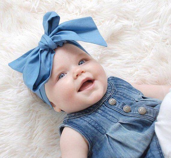 Headwrap Baby Girl Headwrap Big Bow Headwrap for Babies Topknot Blue Headband Baby Turban Teal Headband Girl Head Wraps Newborn Headwrap