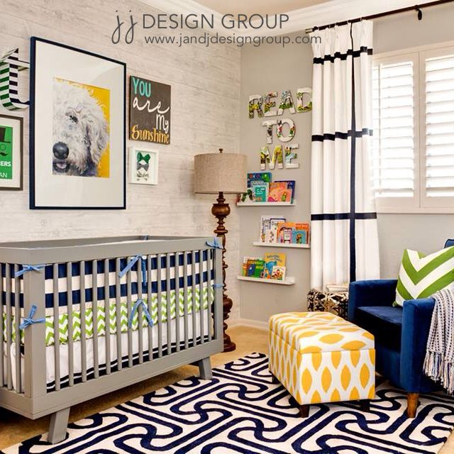 Sophisticated nursery with strong color and pattern.