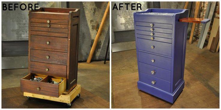 An old dental cabinet has plenty of drawers for whatever you might need to store. With a fresh coat of paint, new knobs and a cutting board feature, this piece is ready to be put to use in the kitchen.