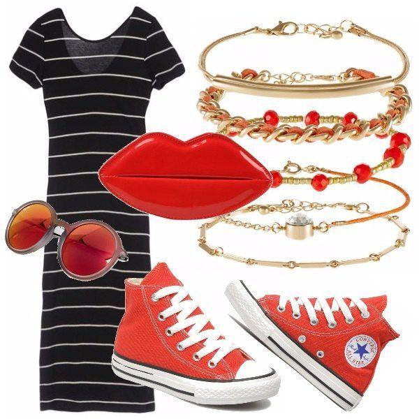 Outfit perfetto per una camminata in città, sportivo ma con gusto e grande attenzione ai dettagli! Il rosso ravviva tutto il look rendendolo il protagonista della nostra passeggiata.