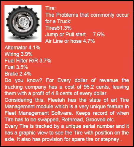 Tire - Graphical tire management with position monitoring gives an illustrative detail about every tire of a fleet